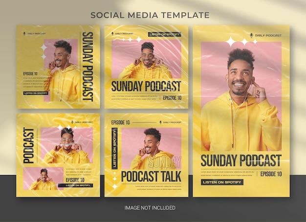 Modelo de pacote de mídia social de podcast