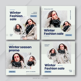 Modelo de pacote de post do instagram fashion winter sale