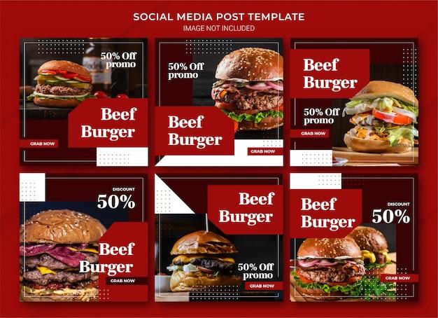 Modelo de pacote de post do instagram para compras online de alimentos