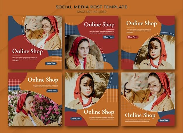 Modelo de pacote de post do instagram para compras online de moda