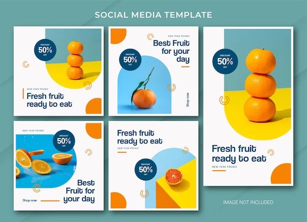 Modelo de pacote de post do instagram para venda de ano novo de alimentos