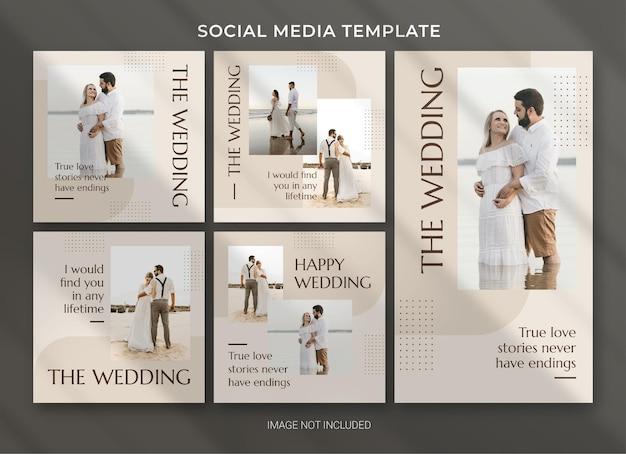 Modelo de pacote de postagem de mídia social de casamento