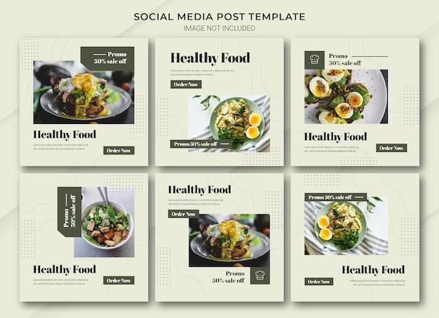 Modelo de pacote de postagem do instagram para compras online de alimentos