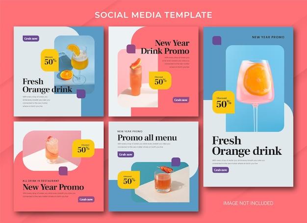 Modelo de pacote de postagem do instagram para venda de ano novo de comida