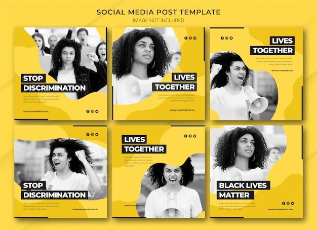 Modelo de pacote de postagens do instagram black lives matter