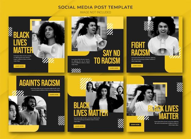 Modelo de pacote de postagens do instagram black lives matter Psd Premium