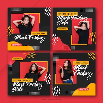 Modelo de pacote de postagens do instagram da campanha black friday