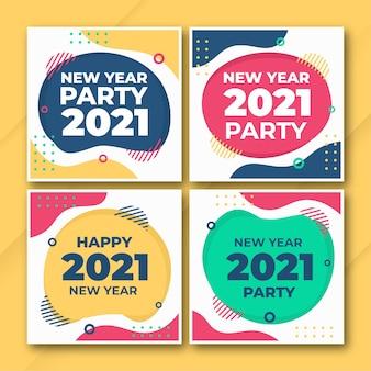 Modelo de pacote de postagens do instagram de ano novo de 2021