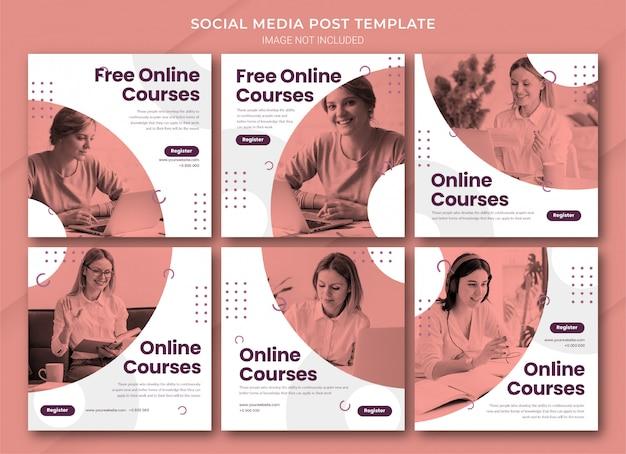 Modelo de pacote de postagens do instagram de aprendizagem online