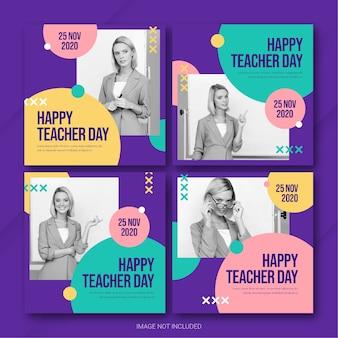 Modelo de pacote de postagens do instagram para o dia do professor