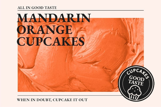 Modelo de padaria psd com textura de cobertura de laranja madarin para banner do blog