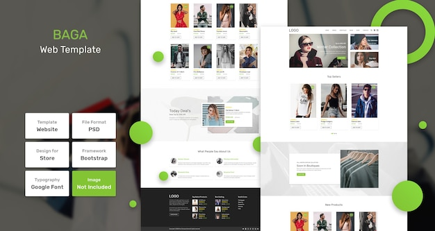 Modelo de página da web da loja baga