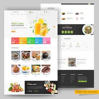Modelo de página da web de loja de comércio eletrônico on-line de frutas e alimentos