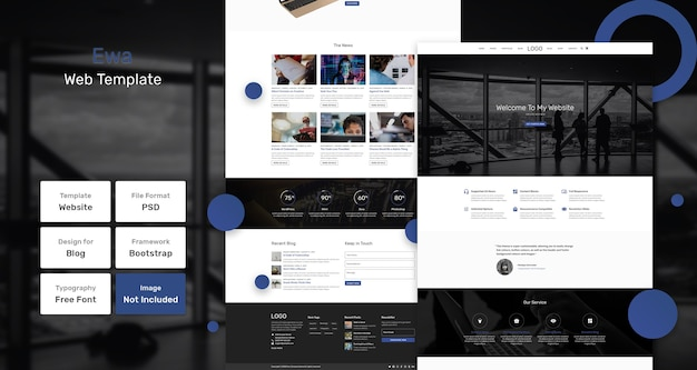 Modelo de página da web de negócios ewa