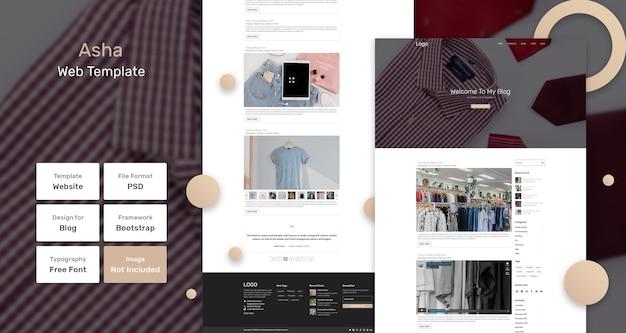 Modelo de página da web do blog asha