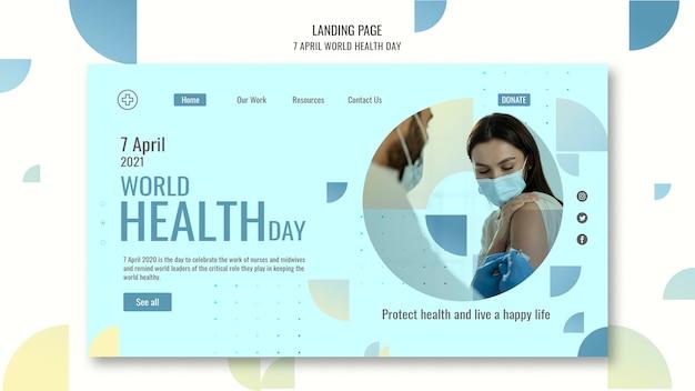 Modelo de página da web do dia mundial da saúde