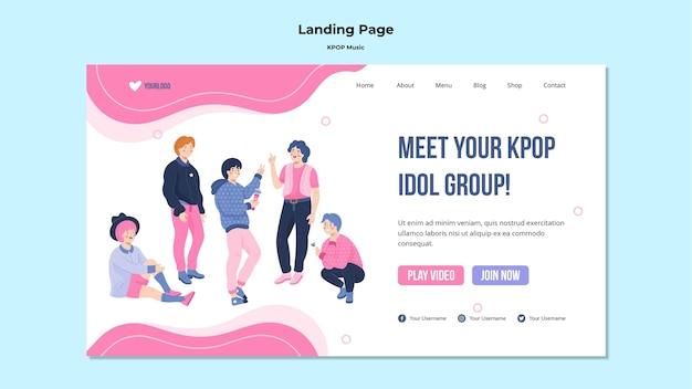 Modelo de página da web k-pop