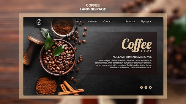 Modelo de página de aterrissagem de conceito de café