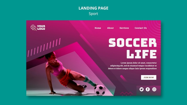 Modelo de página de aterrissagem de treinamento de futebol