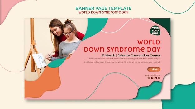 Modelo de página de banner do dia mundial da síndrome de down