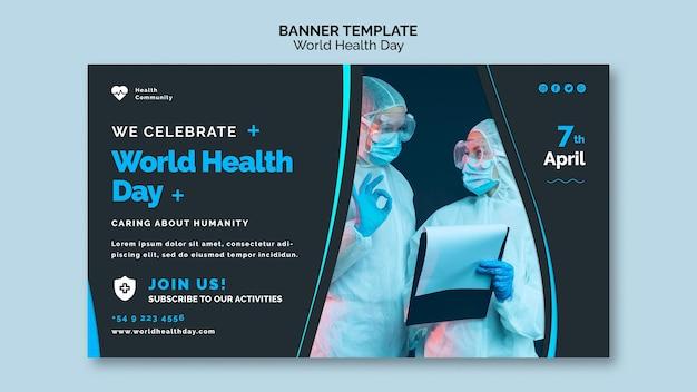 Modelo de página de banner horizontal do dia mundial da saúde