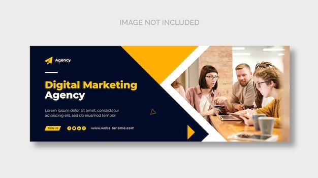 Modelo de página de capa do facebook de marketing digital