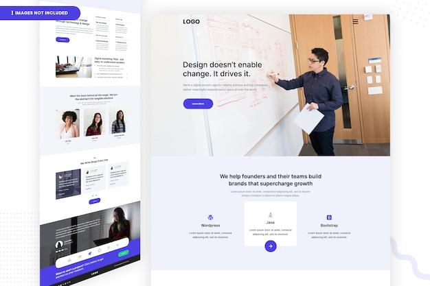 Modelo de página de design de site