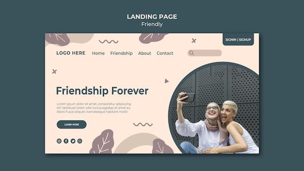 Modelo de página de destino amizade para sempre