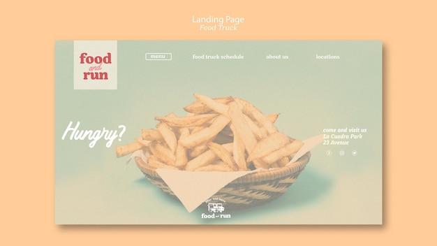 Modelo de página de destino caminhão de alimentos