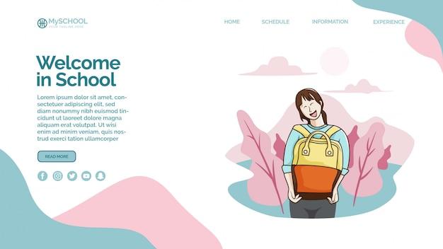 Modelo de página de destino com bem-vindo à escola