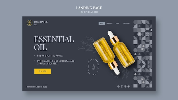 Modelo de página de destino com cosméticos de óleo essencial