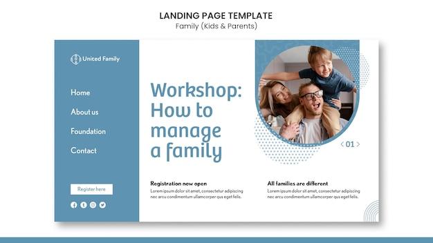 Modelo de página de destino com família e filhos