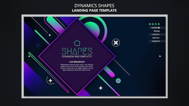 Modelo de página de destino com formas geométricas de néon dinâmicas
