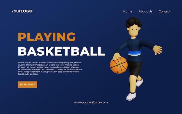 Modelo de página de destino com ilustração de personagem de desenho animado 3d jogando basquete psd premium