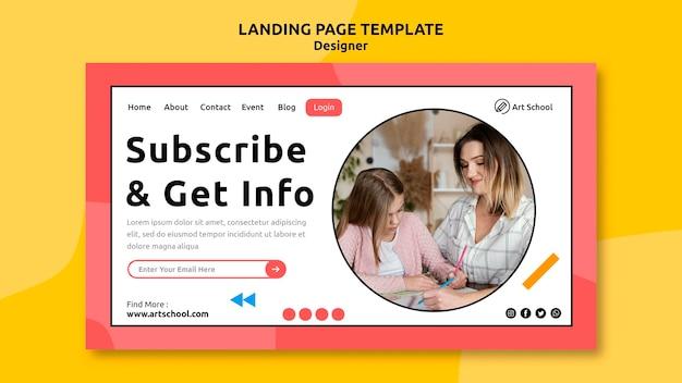 Modelo de página de destino com informações de design
