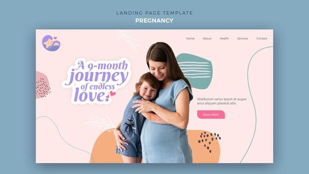 Modelo de página de destino com mulher grávida