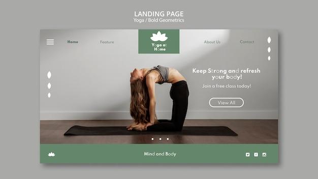Modelo de página de destino com mulher praticando ioga