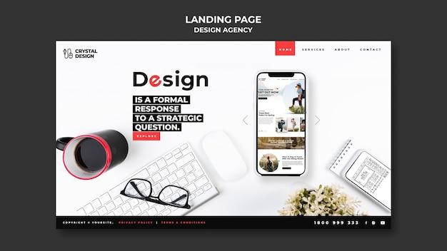 Modelo de página de destino da agência de design