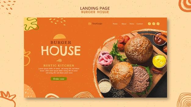Modelo de página de destino da burger house