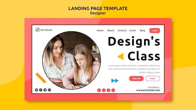 Modelo de página de destino da classe de design