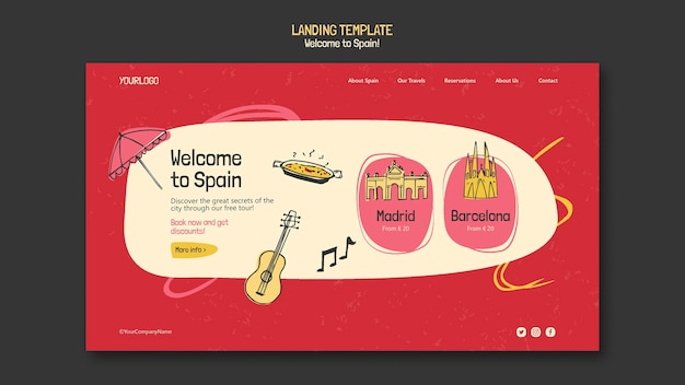 Modelo de página de destino da cultura espanhola
