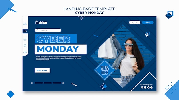 Modelo de página de destino da cyber monday