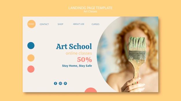 Modelo de página de destino da escola de arte