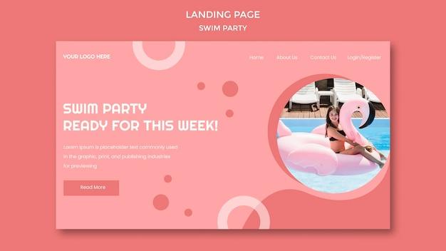 Modelo de página de destino da festa de natação