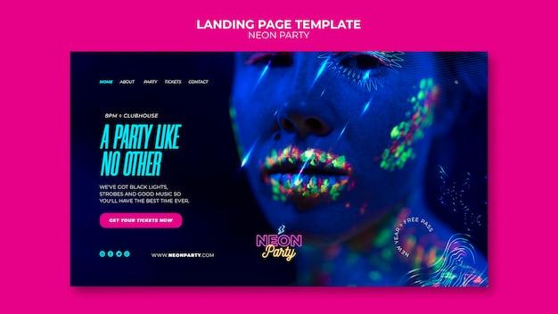 Modelo de página de destino da festa neon