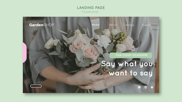 Modelo de página de destino da loja de flores