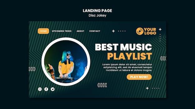 Modelo de página de destino da melhor lista de reprodução de música