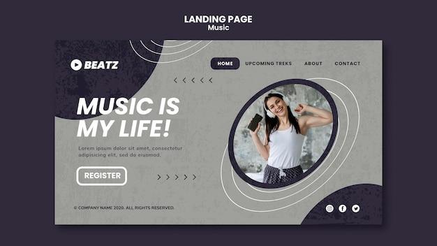 Modelo de página de destino da música