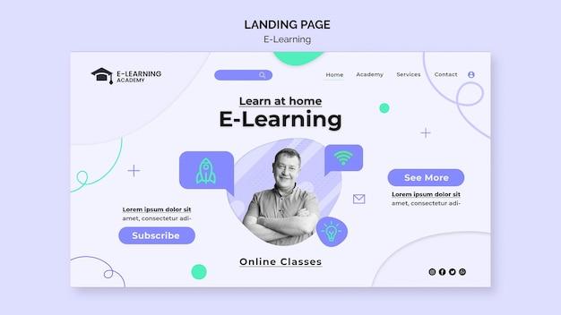 Modelo de página de destino da plataforma de e-learning