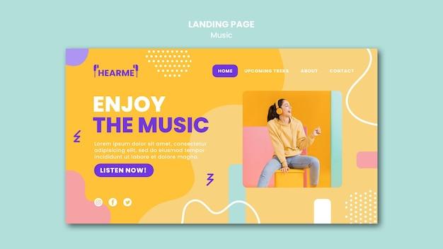 Modelo de página de destino da plataforma musical